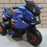 Детский электромобиль. Мотоцикл на надувных колесах синий, Челябинск