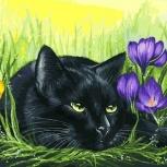 Набор для раскрашивания: «Кот и крокусы» Размер: 30х40см., Челябинск