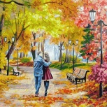 Набор для раскрашивания: «Осенний парк, скамейка, двое». 40х50см., Челябинск