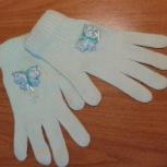 Продам перчатки голубые с бабочкой, Челябинск