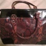 Стильная сумка marella, натуральная кожа, черный лак и бордовая «змея», Челябинск