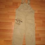 Полукомбинезон на мальчика джинсовый бежевый 110см, Челябинск
