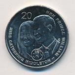 Монета Австралии 2011года медноникелевая 20 центов, Челябинск