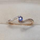 Золотое кольцо с синим сапфиром и бриллиантами, Челябинск
