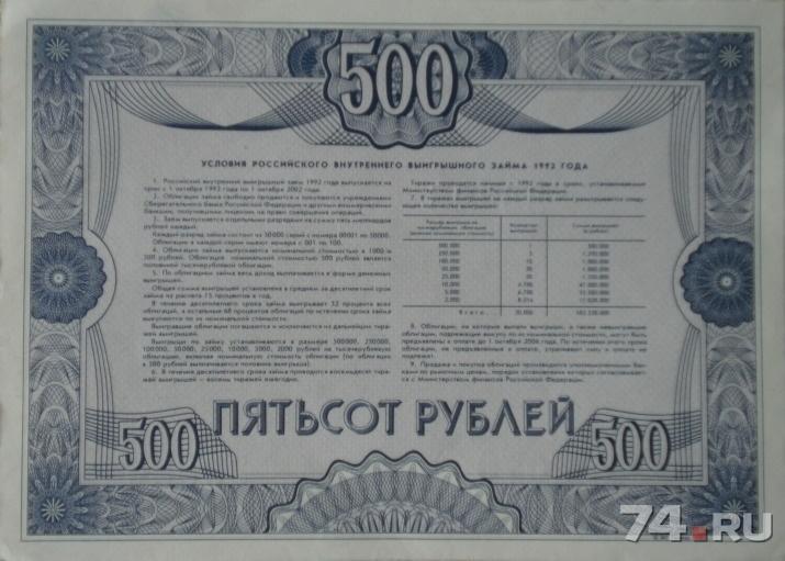 российский внутренний выигрышный заем 1992 года