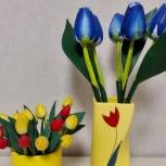 Деревянные Тюльпаны в Вазе Керамика Роспись, Челябинск