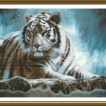 """Вышивка нитками. """"Амурский тигр"""". Размер 48см * 28см., Челябинск"""