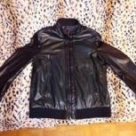 Куртка-пиджак на пуговицах мужская, кожаная, Челябинск
