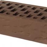 Лицевой керамический кирпич TEREX Какао темно-коричневый рустик, Челябинск