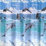 """Шторка текстильная для ванной """"Дельфины- 1.8Х 1.8М, Челябинск"""