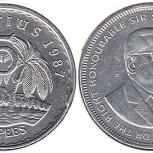 Монеты Маврикия, 5 рупий 1987 года, Челябинск