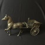 Большая латунная старинная статуэтка Лошадь с повозкой Европа, Челябинск