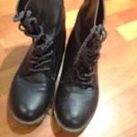 ботинки демисезонные. размер 39-40. цвет черный. на шнурках. кожаные, Челябинск