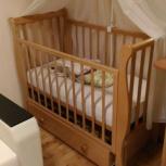 детская кроватка б/у с матрасом, бампером и балдахином, Челябинск