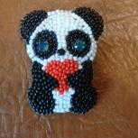 Брошь из бисера панда с сердцем, Челябинск