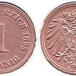 Монеты Германии, 1 пфенниг 1895 года, А, Челябинск