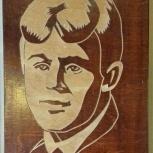 Картина резьба по дереву ручная работа Есенин СССР, Челябинск