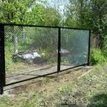 Распашные ворота из сетки-рабицы под ключ, Челябинск