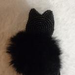 Брошь ручной работы кошка с мехом, Челябинск