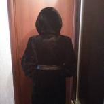 Шуба мутоновая черная с капюшоном, Челябинск