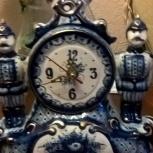 Часы фарфоровые Гжель. Композиция «Пожарники», Челябинск